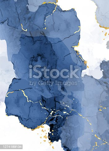 istock Classic blue watercolor fluid painting vector design card. 1274189134