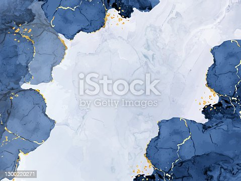 istock Classic blue watercolor fluid painting vector design card 1300220271