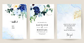 Classic blue, white rose, white hydrangea, ranunculus, anemone, thistle flowers, greenery and eucalyptus, juniper, gold tropical leaves vector design set.Trendy color collection. Isolated and editable