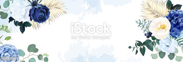 istock Classic blue, white rose, white hydrangea, ranunculus, anemone, thistle flowers 1223258613