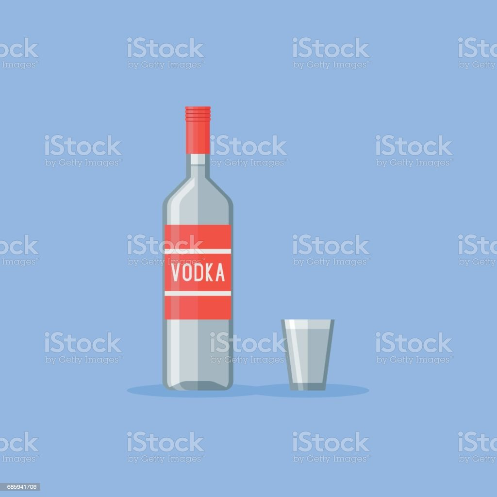 Classic bottle and shot glass of vodka Flat style vector illustration. vector art illustration