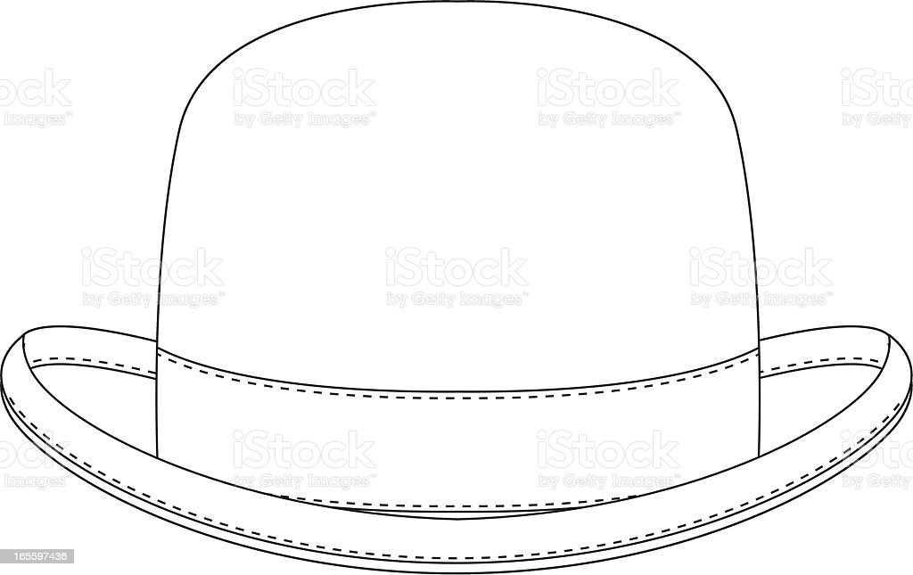 Classic Bowler Hat Template royalty-free classic bowler hat template stock vector art & more images of at the edge of