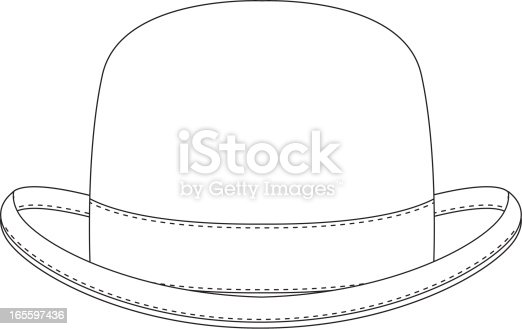 Classic Bowler Hat Template Stock Vector Art 165597436