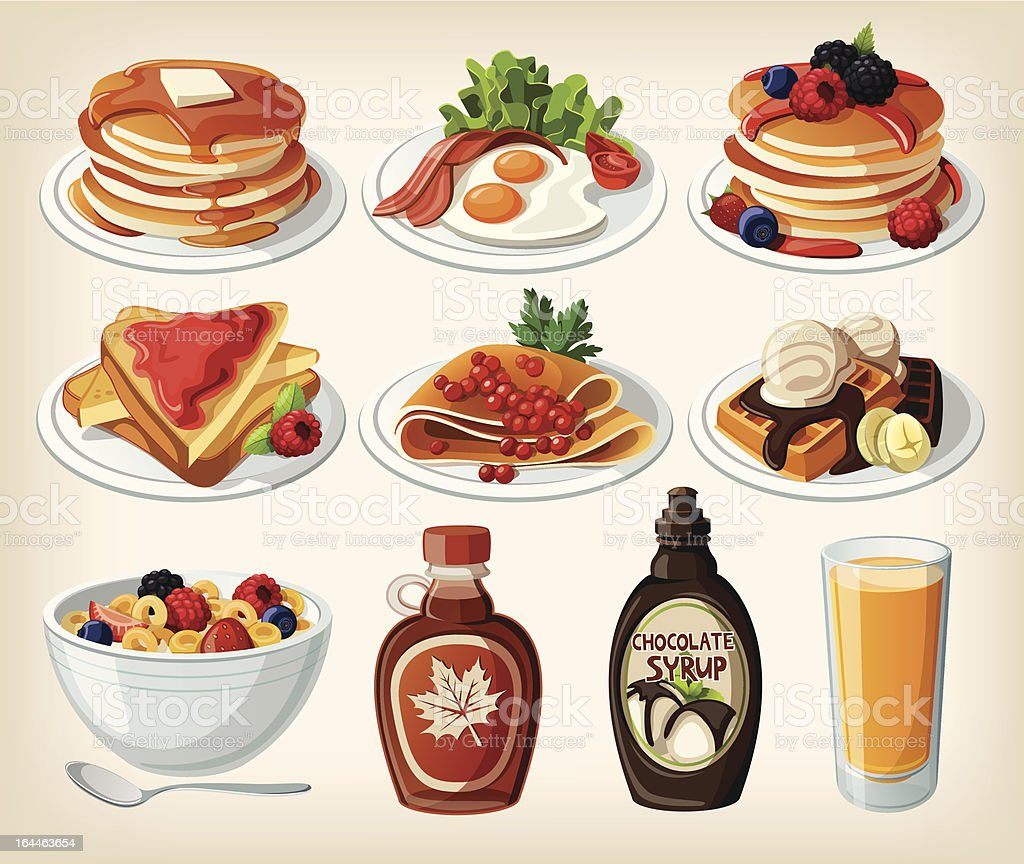 Classic breakfast cartoon set with pancakes, cereal, toasts and waffles vector art illustration