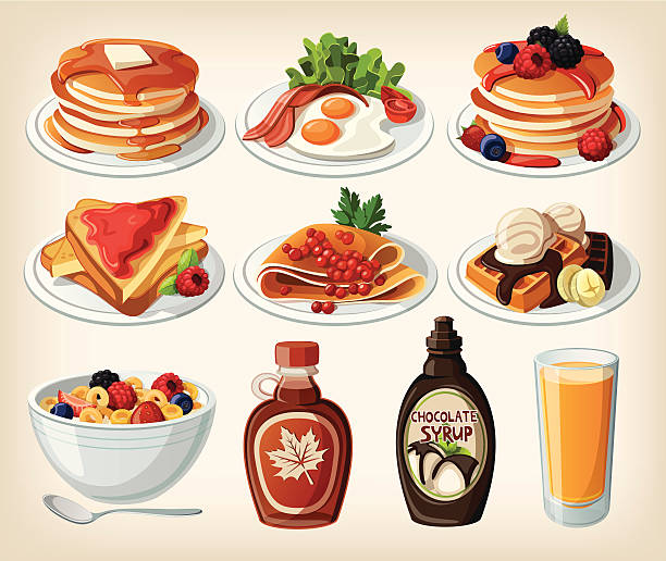 Classic breakfast cartoon set with pancakes, cereal, toasts and waffles Classic breakfast cartoon set with pancakes, cereal, toasts and waffles. EPS10 maple syrup stock illustrations