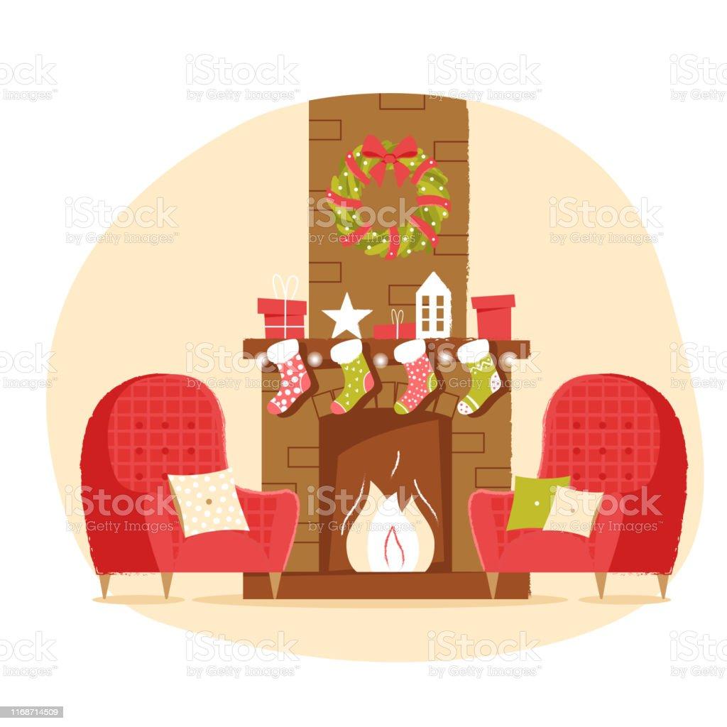 Klassieke bakstenen open haard met kerst sokken, fauteuil, cadeaus en een krans op een neutrale achtergrond. Nieuwjaar vector illustratie in platte stijl voor web banner, wenskaart of Tags - Royalty-free Armstoel vectorkunst