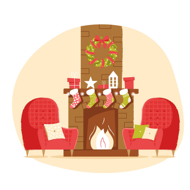 ilustrações de stock, clip art, desenhos animados e ícones de classic brick fireplace with christmas socks, armchair, gifts and a wreath on a neutral background. new year vector illustration in flat style for web banner, greeting card or tags - braseiro