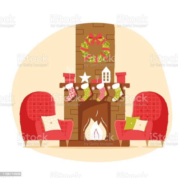Klassieke Bakstenen Open Haard Met Kerst Sokken Fauteuil Cadeaus En Een Krans Op Een Neutrale Achtergrond Nieuwjaar Vector Illustratie In Platte Stijl Voor Web Banner Wenskaart Of Tags Stockvectorkunst en meer beelden van Armstoel