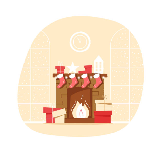 ilustrações de stock, clip art, desenhos animados e ícones de classic brick fireplace with christmas socks, gifts and clocks on a neutral background. new year vector illustration in flat style for web banner, greeting card or tags - braseiro