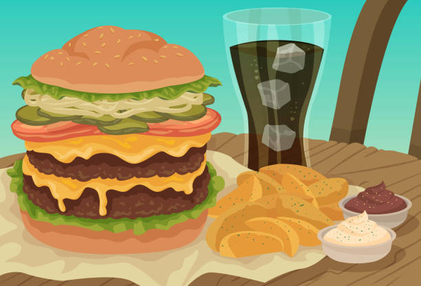 Classic Burger Meal vector art illustration
