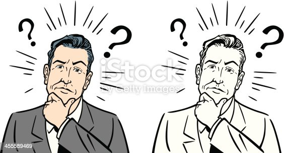 Great illustration of a businessman with questions. Perfect for a business or decision illustration. EPS and JPEG files included. Be sure to view my other business illustrations, thanks!