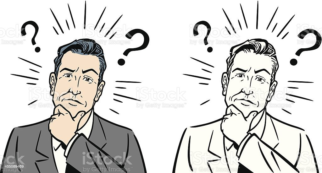 Classic Business Man With Questions vector art illustration