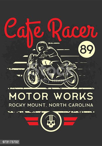 Classic cafe racer motorcycle for printing with grunge texture. T-shirt printing design. Retro motorcycle poster.