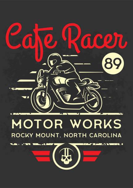 bildbanksillustrationer, clip art samt tecknat material och ikoner med klassiska café racer motorcykel affisch. - motorcyklist