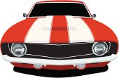 Vector Illustration of a 1969 Chevy Camaro muscle car, saved in layers for easy editing if needed.
