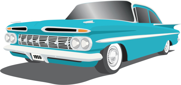 Vector illustration of a classic 1959 Chevy Impala, saved in layers for easy editing. There is also a layer with a second set of