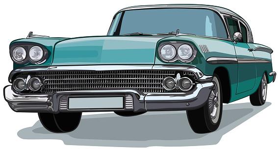 Classic Car American Sketch Vector