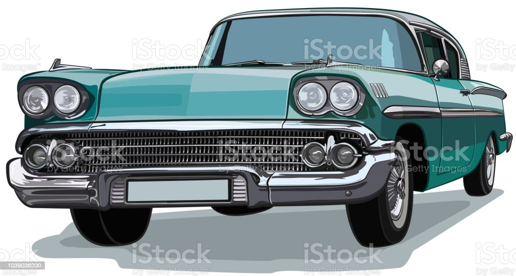 Classic Car American Sketch Vector vector art illustration
