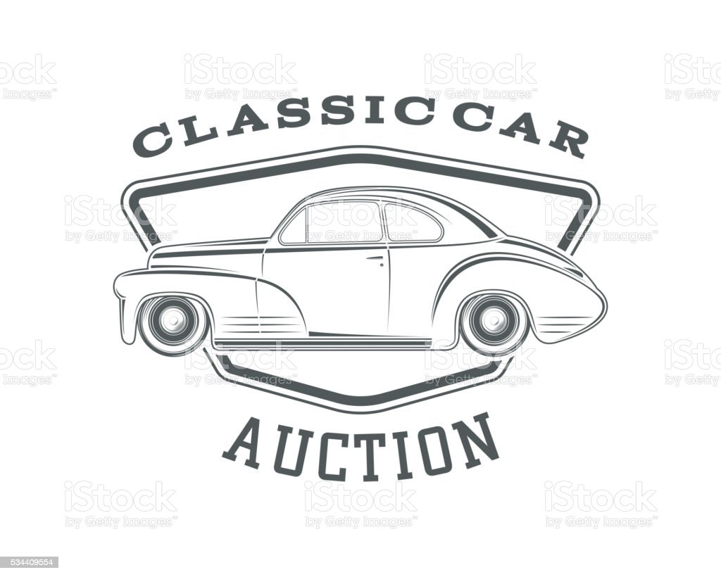 classic car auction badge template stock illustration