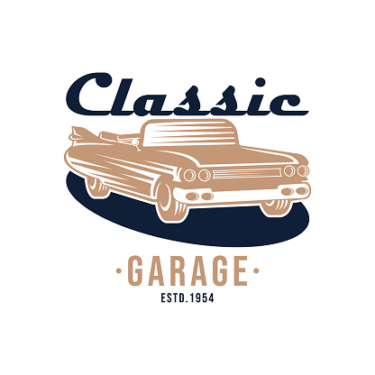 Classic Car  badge and emblem Vector Illustration. Vintage Classic Car vector  icon silhouette design. Classic Car  vector illustration for car repair, dealer, garage and service.