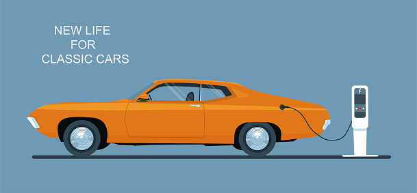 Classic car converted to electric drive. Vector flat illustration.