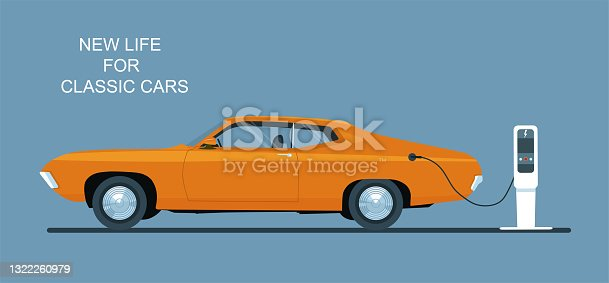 istock Classic car converted to electric drive. Vector flat illustration. 1322260979