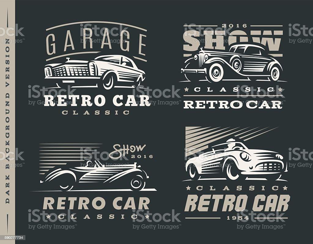 Classic car illustrations set on dark background. vector art illustration