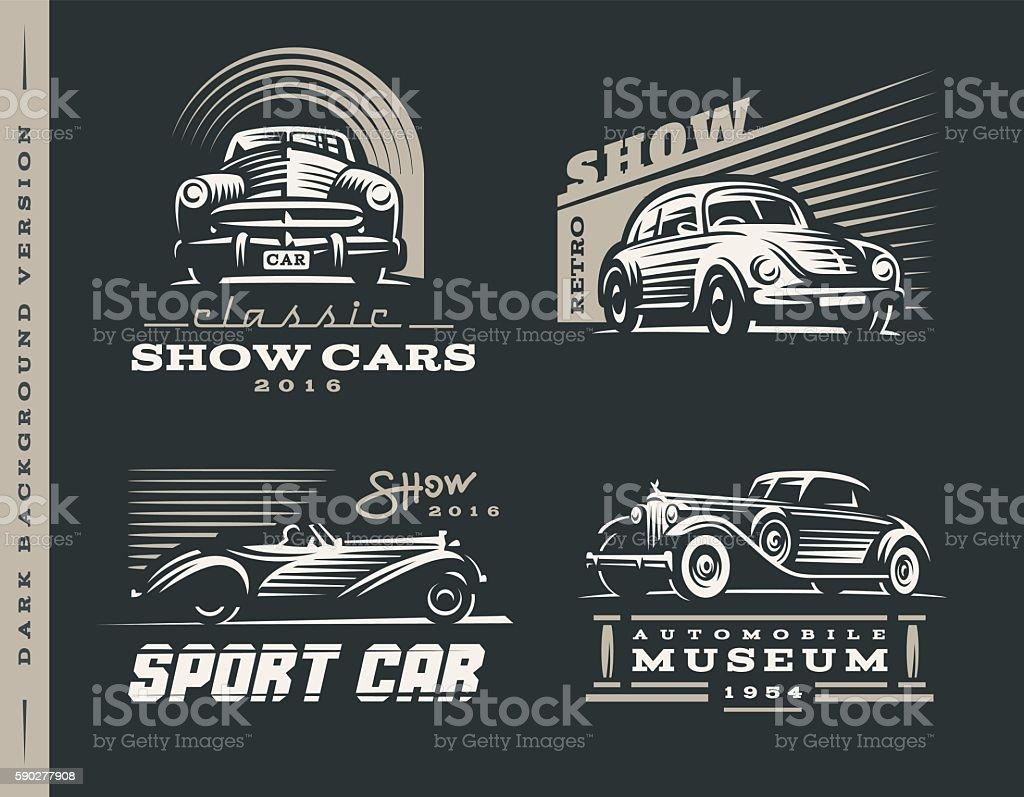 Classic car illustrations set vector art illustration
