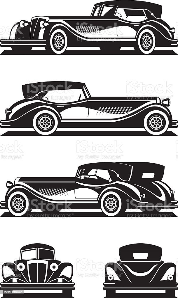 Classic car in different views vector art illustration