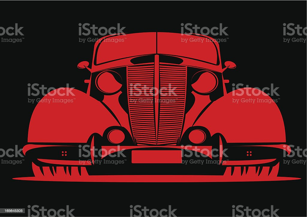 Classic car in red royalty-free stock vector art