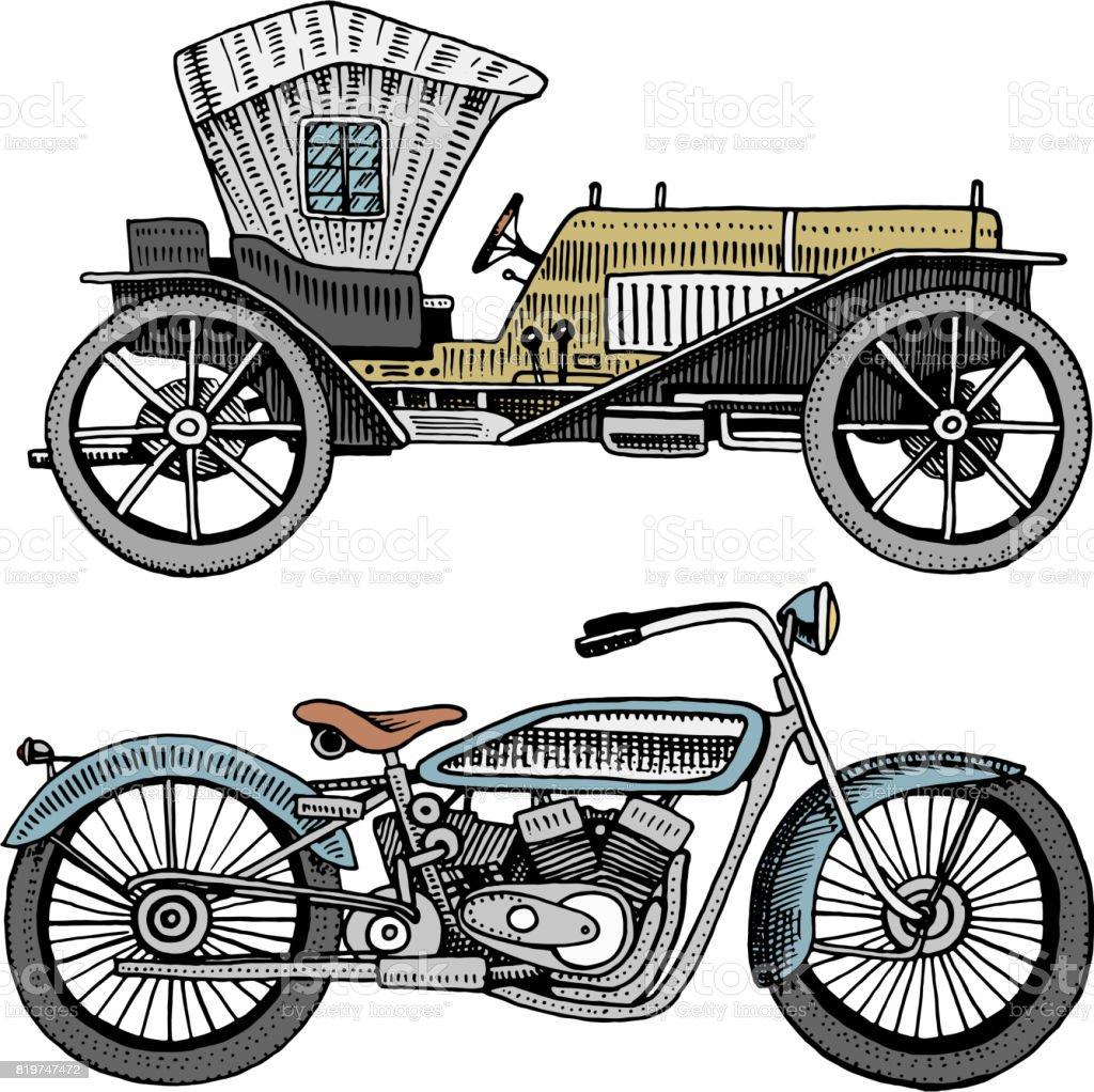 Ilustración de Dibujo Coche Máquina O Motor Y Motocicleta O Moto ...