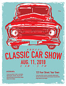 Vector illustration of a Classic car show and exhibition advertisement poster design template. Easy to edit with layers. Retro style with lots of texture.