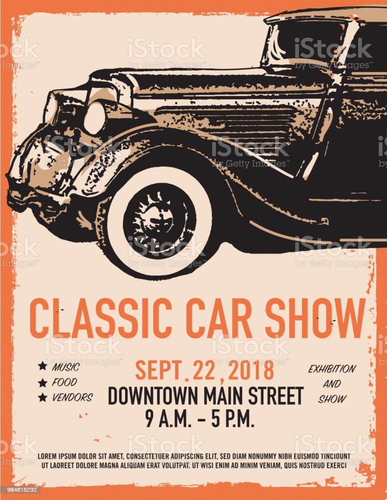 Classic Car Show And Exhibition Advertisement Poster Design Template - Classic car show poster template