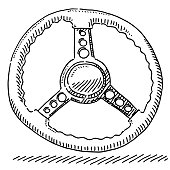 Classic Car Steering Wheel Drawing