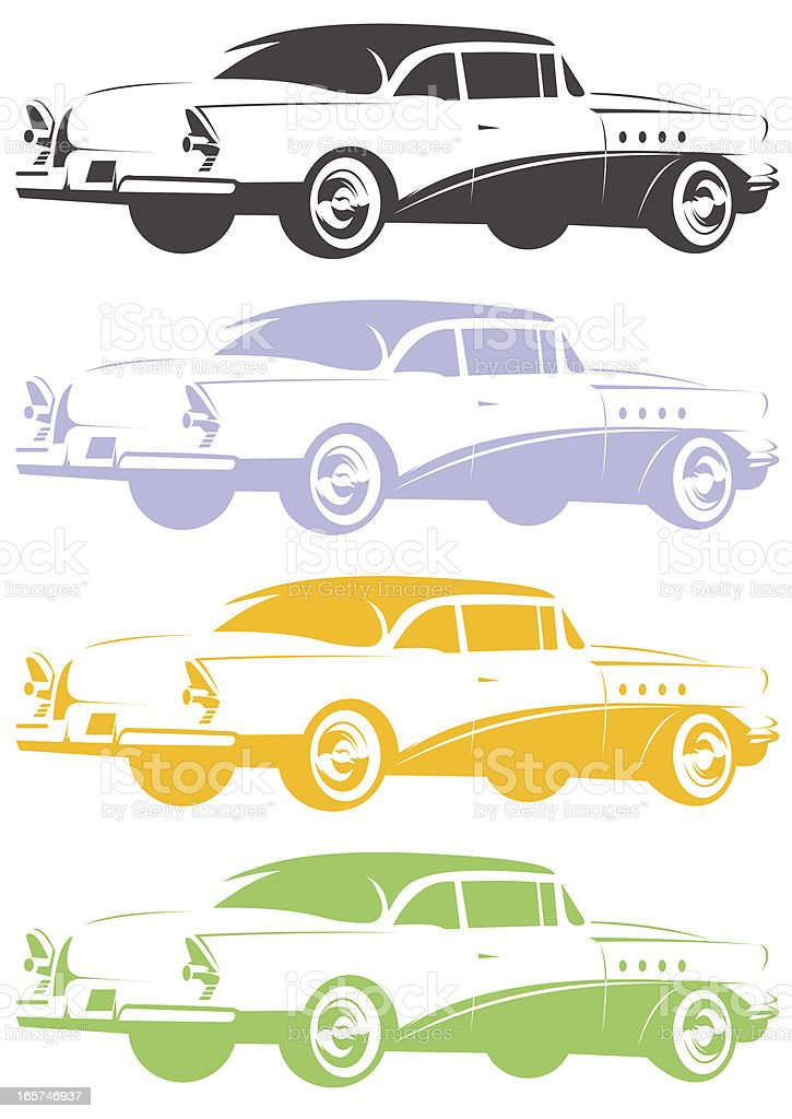 Classic car stencil vector art illustration