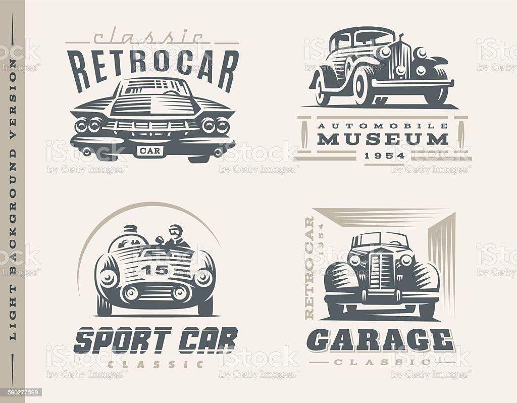 Classic cars illustrations on light background vector art illustration
