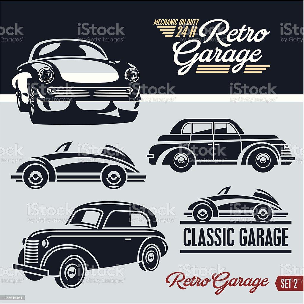 Cars Collector Garages: Klassische Autos Retro Autogarage Stock Vektor Art Und