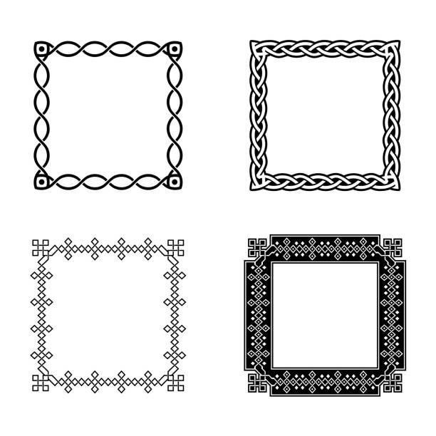 Classic Celtic Ornament Frame Vintage Border Art Decorative vector art illustration