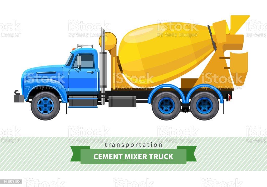 Classic cement mixer truck side view vector art illustration