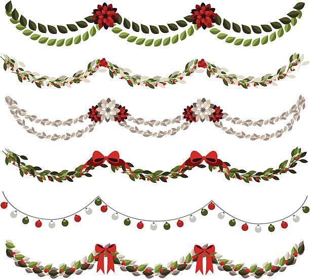 klassischer weihnachts-girlanden - blumengirlanden stock-grafiken, -clipart, -cartoons und -symbole