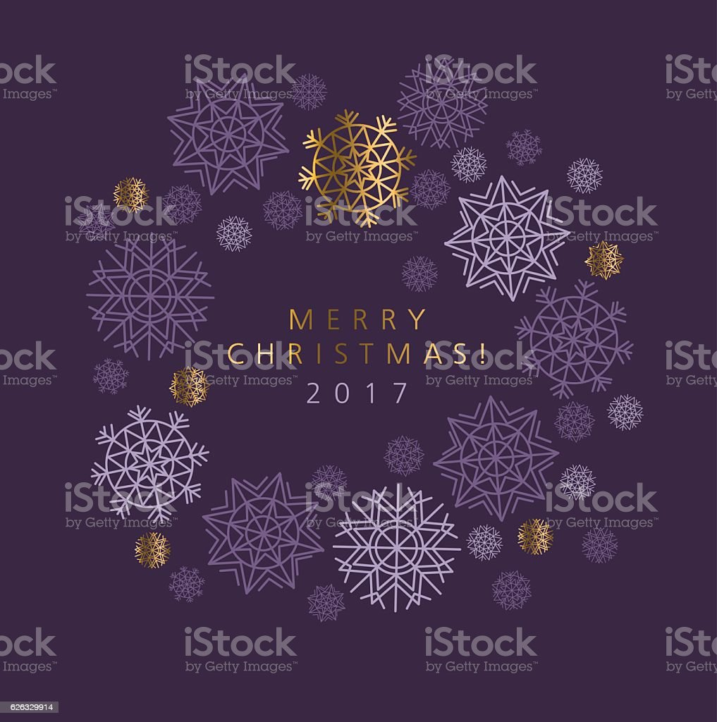 Classic Christmas snowflakes elegant card or header. vector art illustration