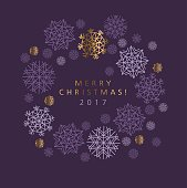 Classic Christmas snowflakes elegant card or header.