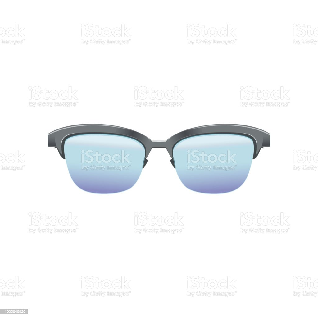 27e72c24db5 Classic clubmaster glasses with blue lenses and metallic half frame.  Fashion spectacles for men s. Flat vector design for mobile app -  Illustration .