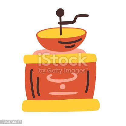 istock Classic coffee grinder cartoon vector illustration isolated on white background. 1303703217