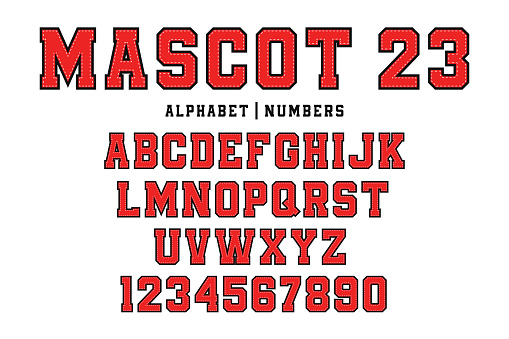 Classic college font. Vintage sport font in american style for football, baseball or basketball logos and t-shirt. College and varsity style font, tackle twill
