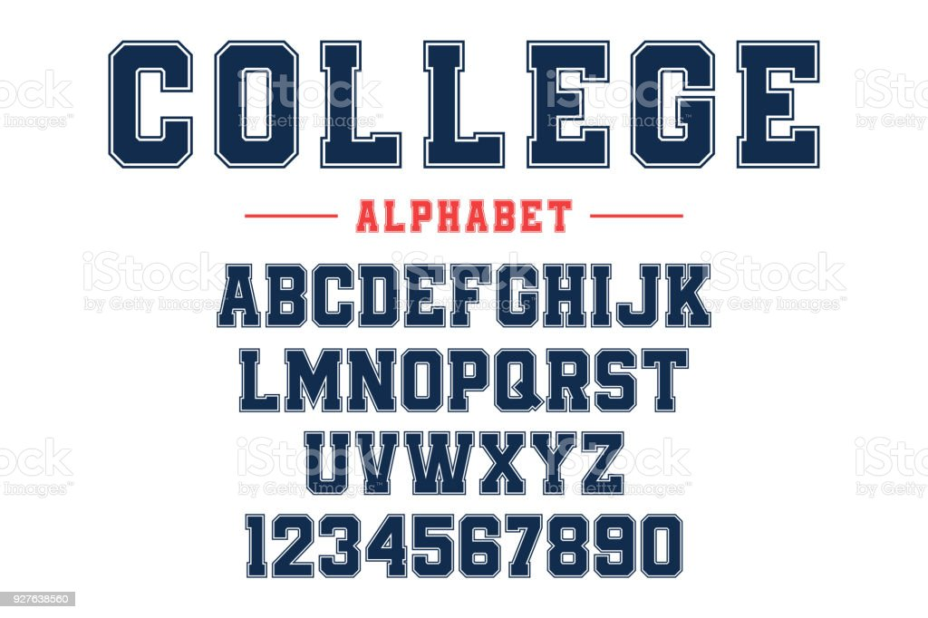 Classic college font. Vintage sport font in american style for football, baseball or basketball t-shirts. Athletic department typeface, varsity style font vector art illustration