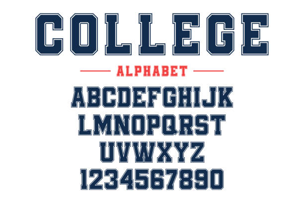 classic college font. vintage sport font in american style for football, baseball or basketball t-shirts. athletic department typeface, varsity style font - university stock illustrations, clip art, cartoons, & icons