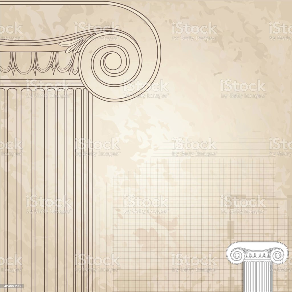 Classic columns architectural wallpaper vector art illustration