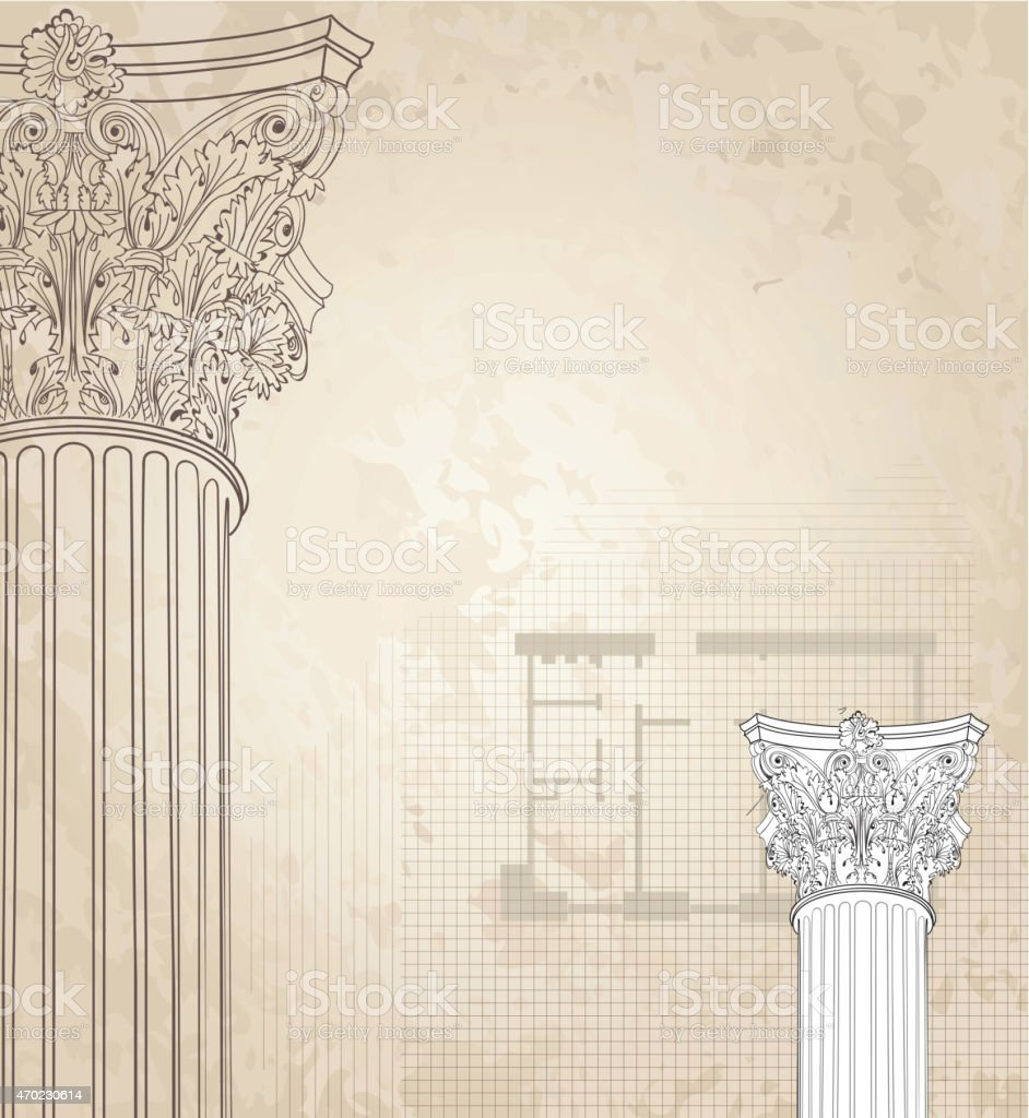 Classic columns  background. Architectural old paper textured wallpaper vector art illustration