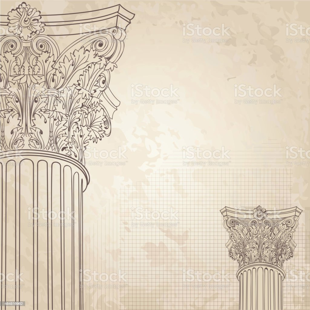 Classic columns background. Roman corinthian column. Illustration on old paper background vector art illustration